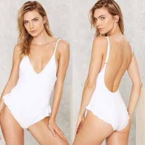 NWOT nasty gal ruffled one piece swimsuit